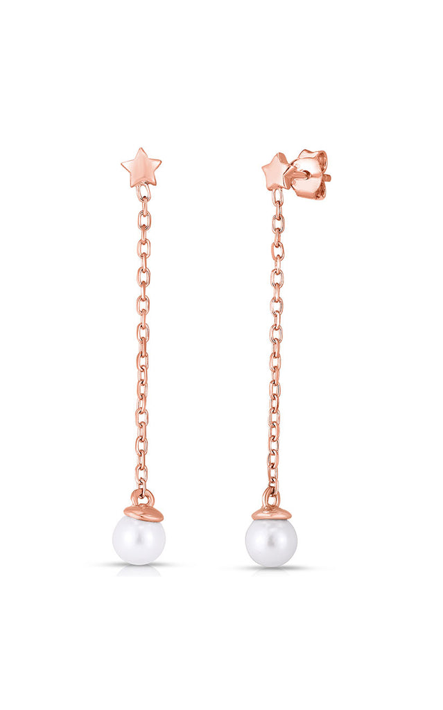 Pearl Chain Drop Stud Earring - Sphera Milano