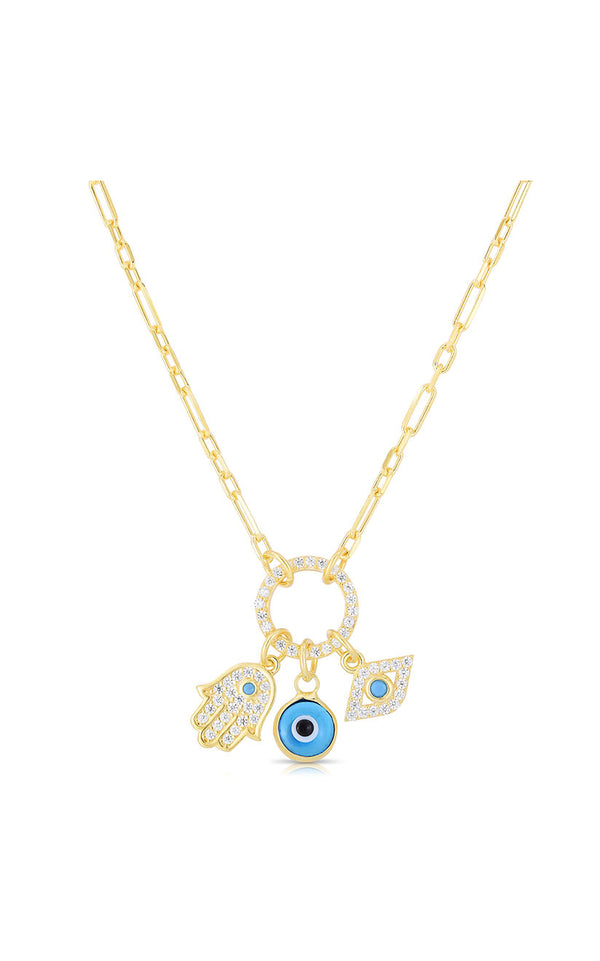 Evil Eye and Hamsa Charm Necklace - Sphera Milano