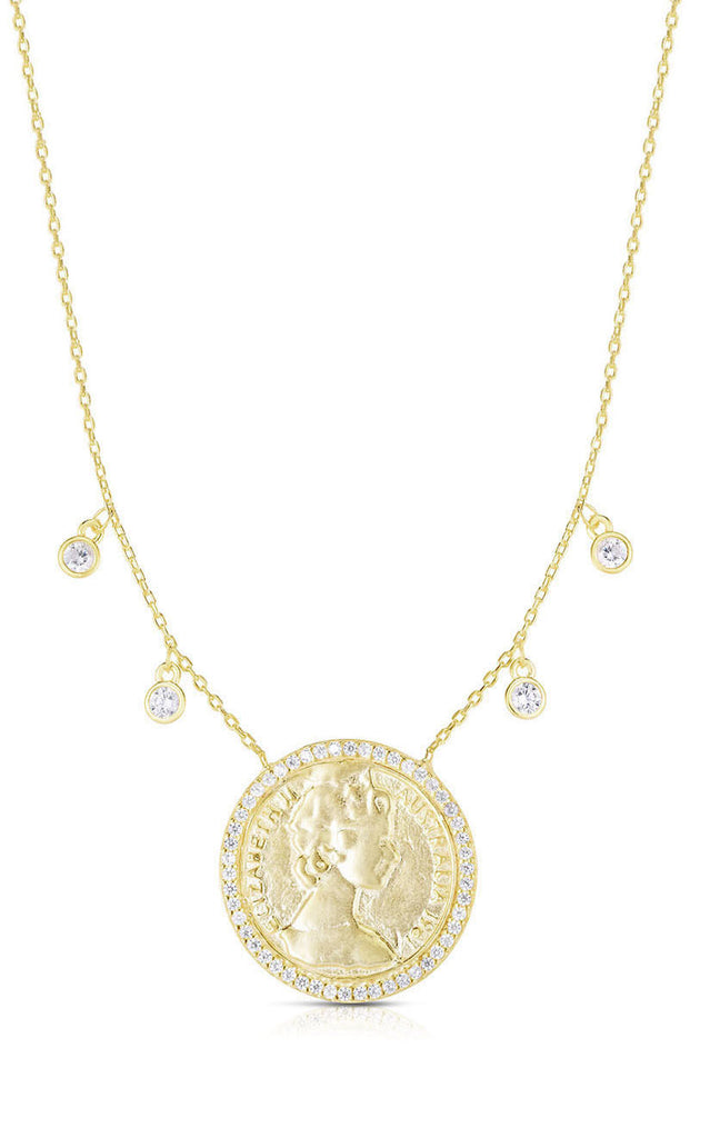 CZ Pavé Vintage Coin Necklace - Sphera Milano