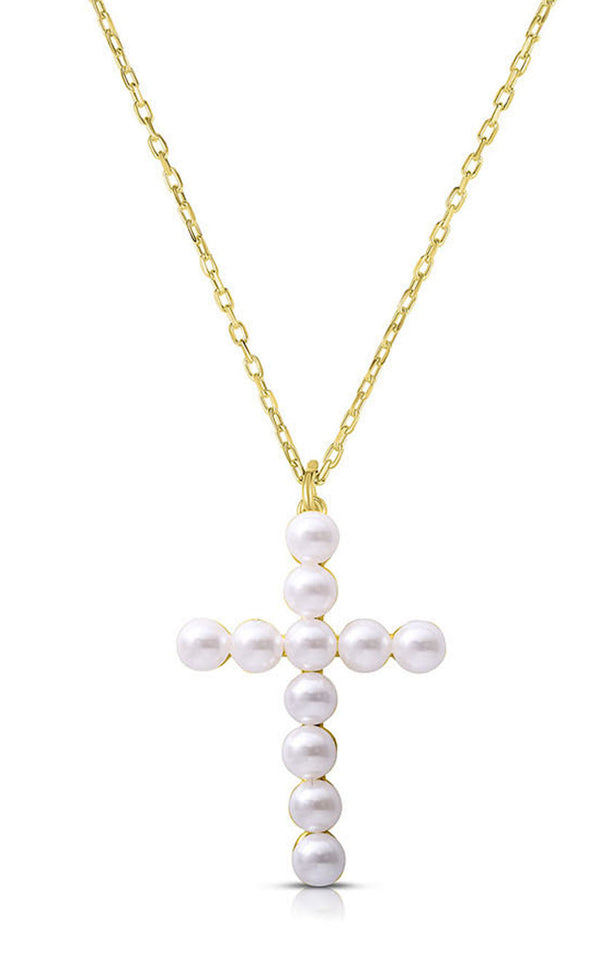 Cross Pearl Pendant Necklace - Sphera Milano
