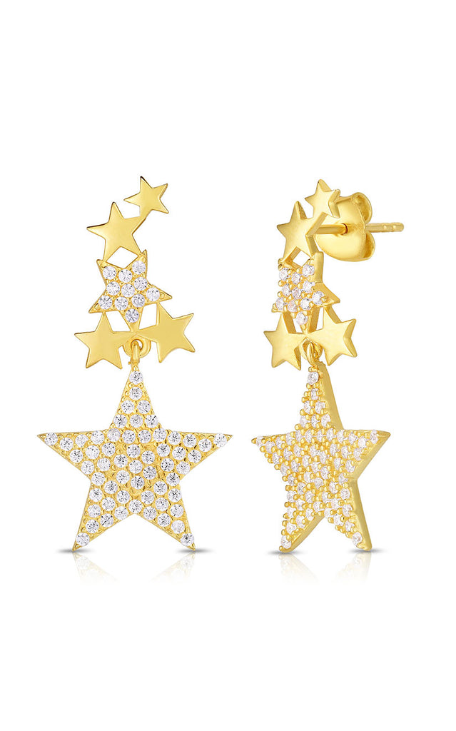 CZ Star Drop Stud Earring