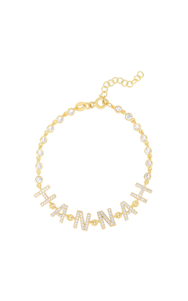 Pavé Block Name Tennis Bracelet - Sphera Milano