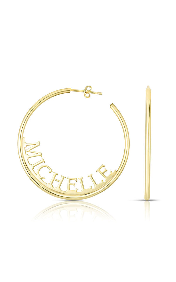Solid Block Name Hoop Earring - Sphera Milano