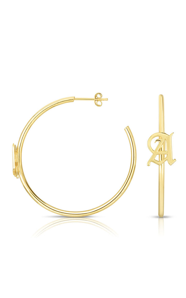 Old English Initial Hoop Earring - Sphera Milano