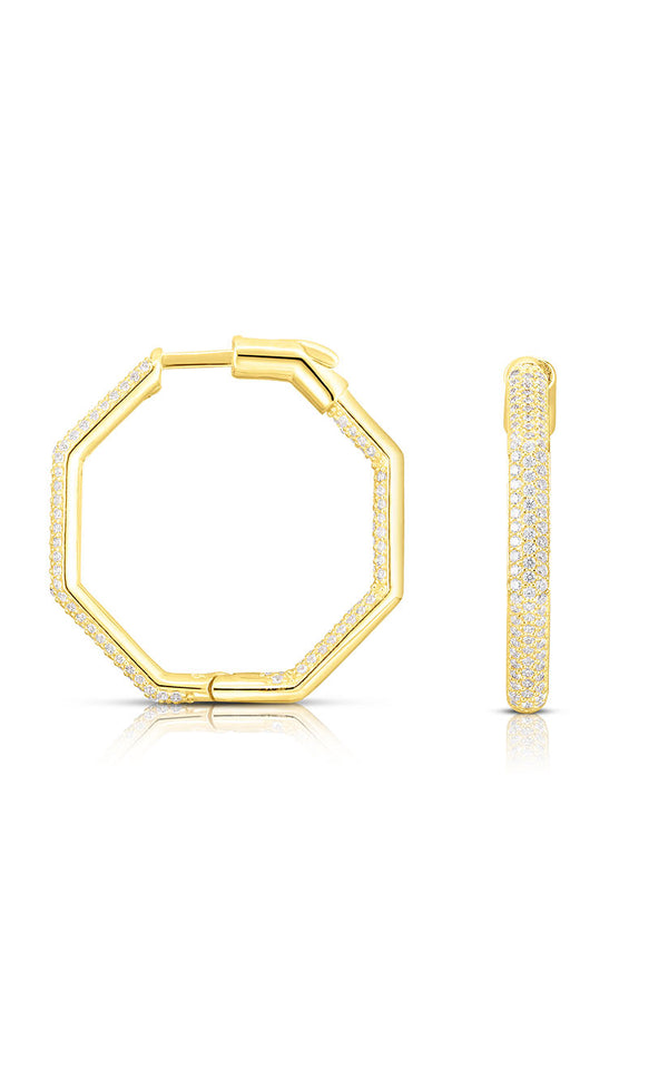 Pavé Hexagon Hoop Earring - Sphera Milano