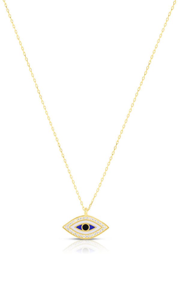 Enamel and CZ Evil Eye Necklace - Sphera Milano