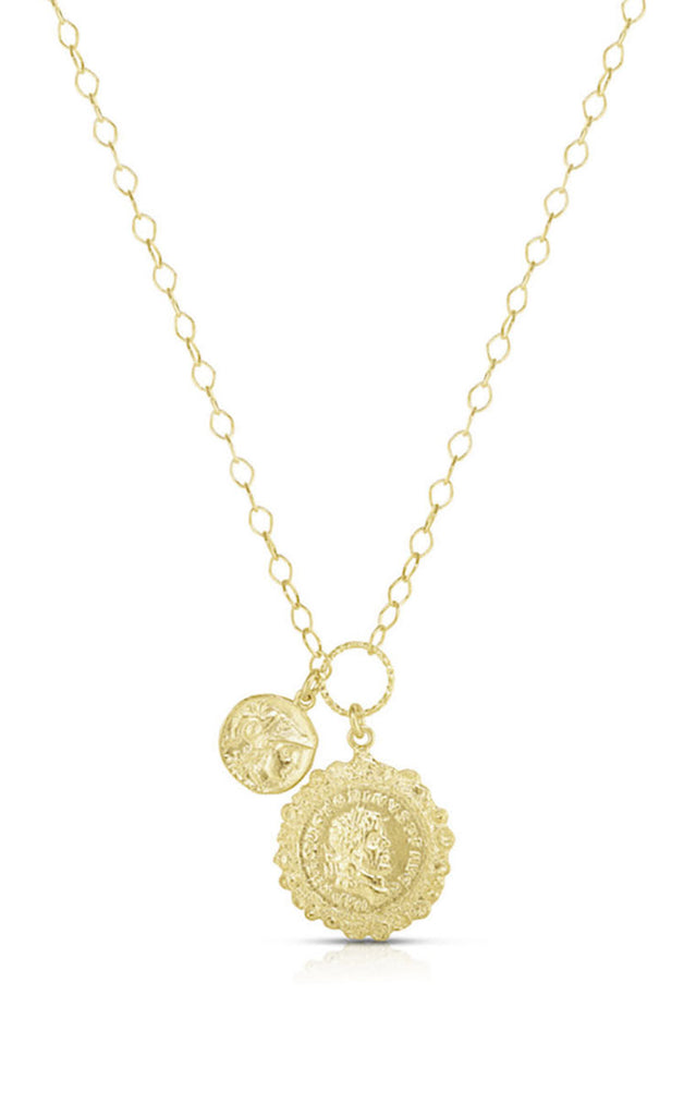 Double Coin Statement Necklace - Sphera Milano