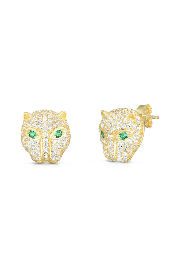 Pavé Pather Stud Earring - Sphera Milano