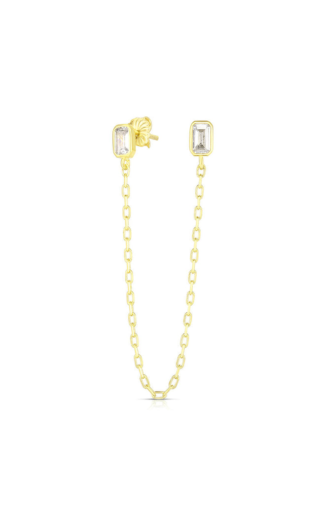 CZ Emerald Cut Chain Stud Earring