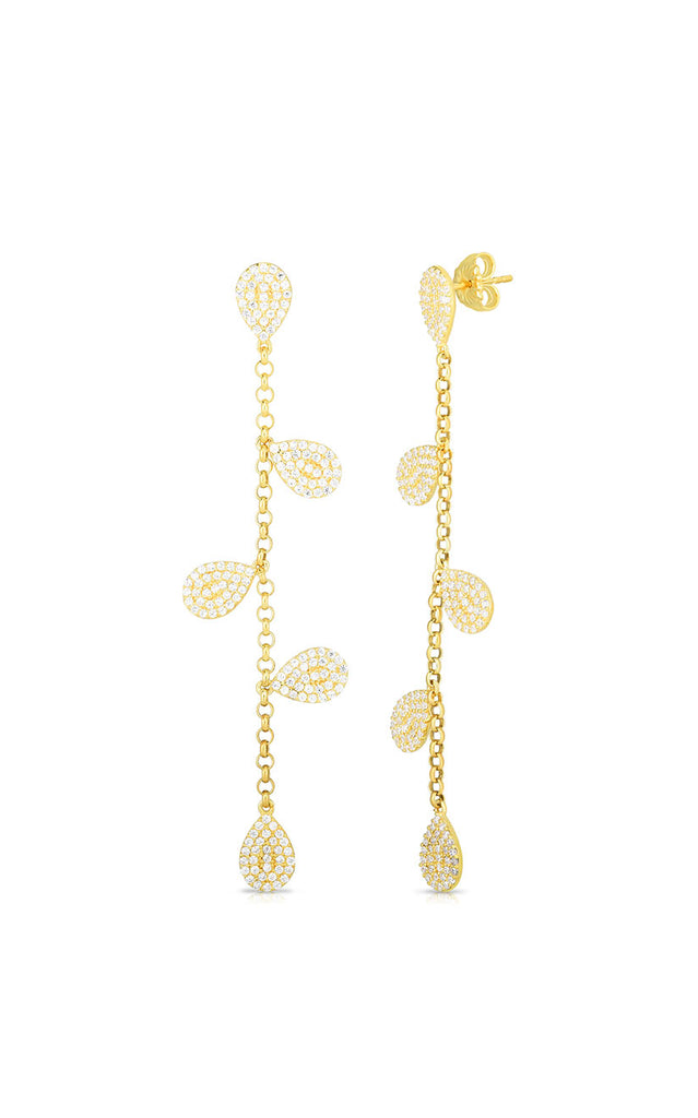 CZ Chain Drop Stud Earring - Sphera Milano
