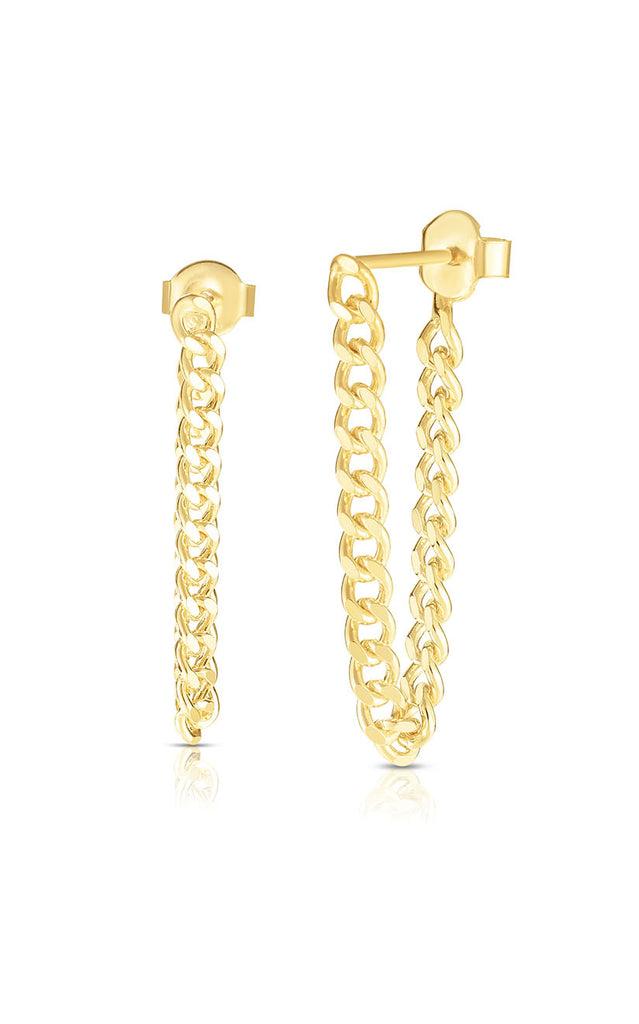 Cuban Chain Link Drop Stud Earring