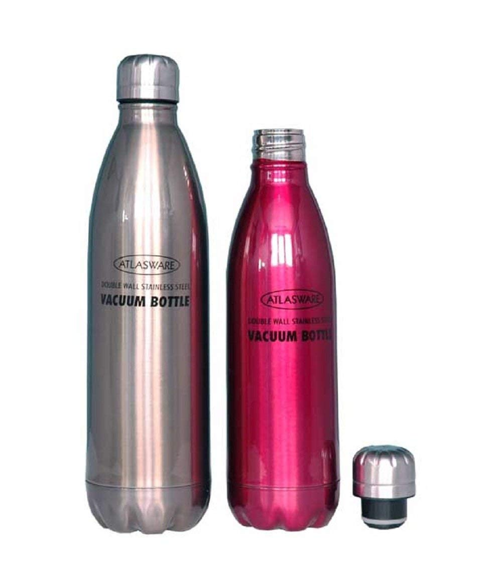 Atlasware Hot & Cold Vacuum Bottle Stainless Steel, 500 ml and 700 ml, Pack of 2 Pieces