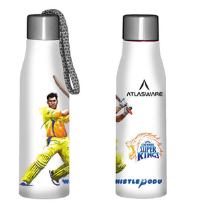 Atlasware IPL Offers Chennai Super Kings Stainless Steel Dhoni Thala Shot Design Water Bottle White (1000 ml)