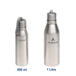 ATLASWARE Stainless Steel Water Bottle with Carrying Rope (1000 ml, Silver Matt)