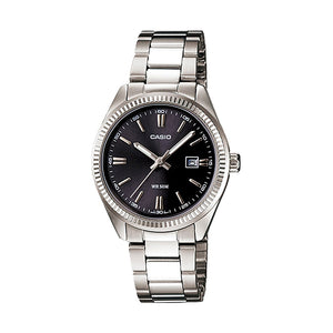 Casio Women's Black Dial Steel Band Watch - LTP-1302D-1A1VDF