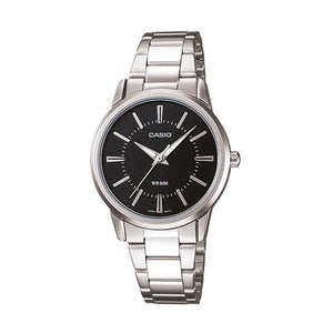 Casio Women's Black Dial Stainless Steel Band Watch - LTP-1303D-1AVDF