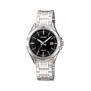 Casio Women's Black Dial Stainless Steel Band Watch - LTP-1308D-1A