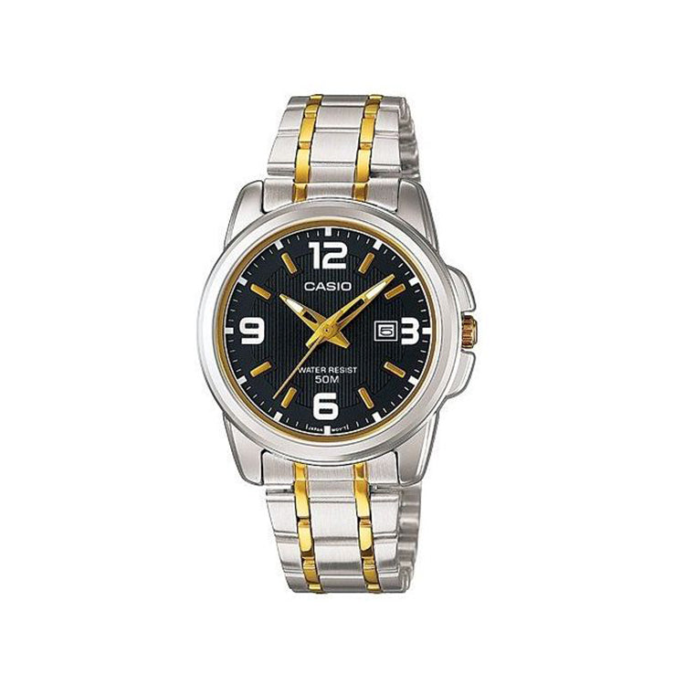 Casio Enticer Ladies Black Dial Two Tone Stainless Steel Band Watch [LTP-1314SG-1AVDF]