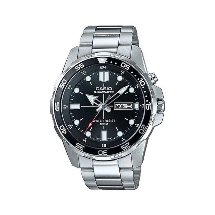 Watch for Men by Casio , Analog , Stainless Steel , Silver , MTD-1079D-1A2VDF