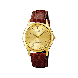 Casio Classic Men's Gold Dial Leather Band Watch - MTP-1183Q-9ADF