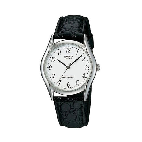 Casio Men's White Dial Leather Band Watch - MTP-1094E-7BDF (CN)