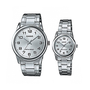 Casio Set of His & Her for Unisex - Analog Stainless Steel Band Watch - MTP/LTP-V001D-7BUDF