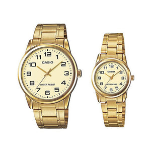 Casio His & Her Gold Dial Stainless Steel Band Couple Watch - MTP/LTP-V001G-9BUDF