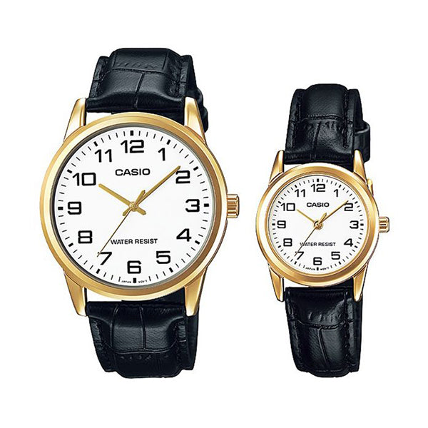 Casio His & Hers White Dial Leather Band Couple Watch - MTP/LTP-V001GL-7BUDF