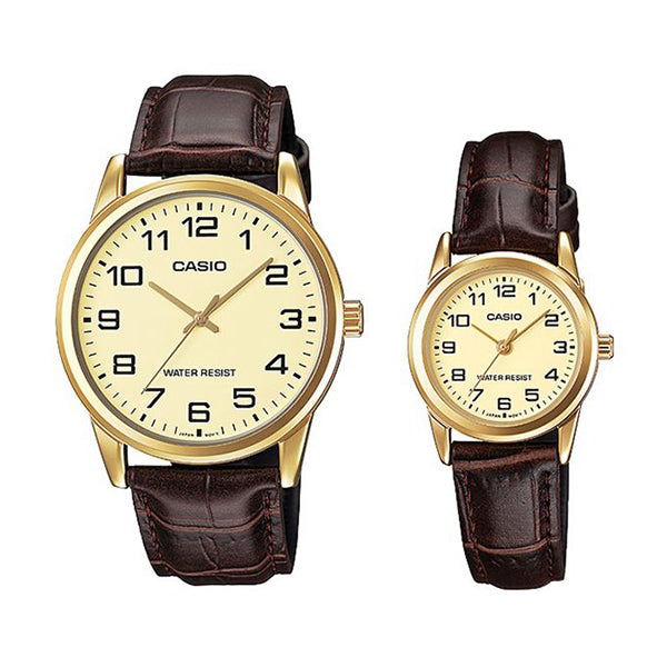 Casio His & Hers Gold Dial Leather Band Couple Watch - MTP/LTP-V001GL-9BUDF