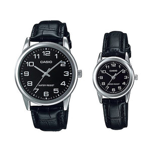 Casio His & Hers Black Dial Leather Band Couple Watch - MTP/LTP-V001L-1BUDF