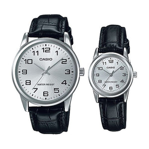 Casio His & Hers Silver Dial Leather Band Couple Watch - MTP/LTP-V001L-7BUDF