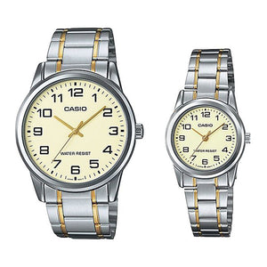 Casio His & Hers Beige Dial Stainless Steel Band Couple Watch - MTP/LTP-V001SG-9BUDF