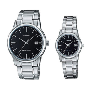Casio His & Hers Black Dial Leather Band Couple Watch - MTP/LTP-V002L-1AUDF