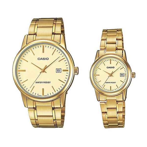 Casio His and Her Analog MTP/LTP-V002G-9AUDF Stainless Steel Watch Set