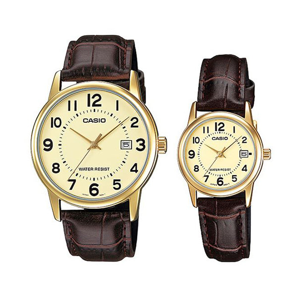 Casio Casual Watch For Unisex Analog Leather - MTP/LTP-V002GL-9B