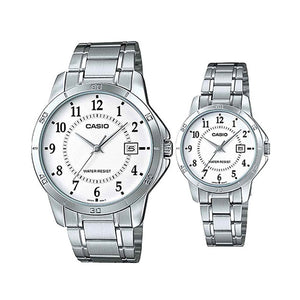 Casio His and Hers Stainless Stell Band [MTP/LTP-V004G-9B]