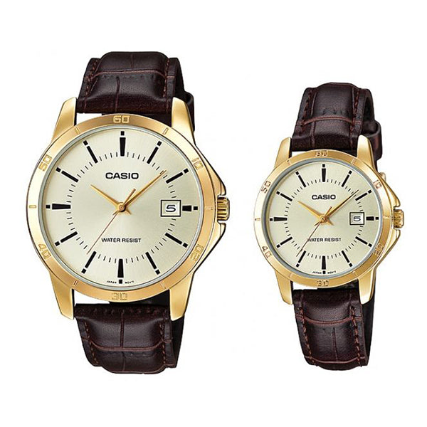 Casio His & Hers Beige Dial Leather Band Couple Watch - MTP/LTP-V004GL-9A