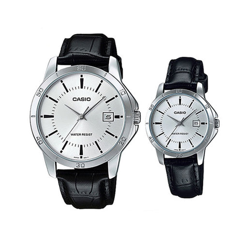 Casio Set of two for Couple - Analog Leather Band Watches - MTP/LTP-V004L-7A