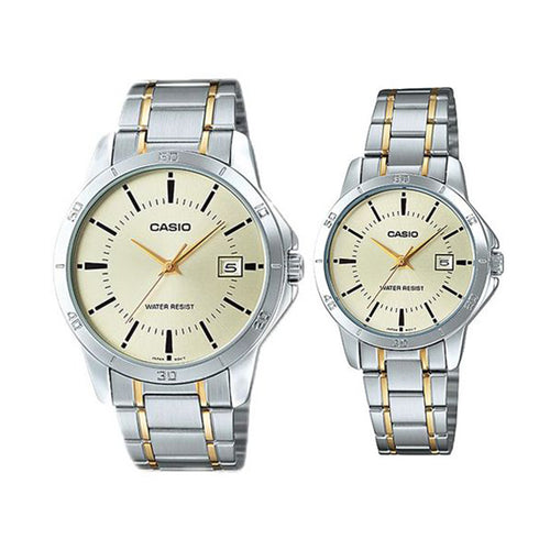 Casio His and Hers Stainless Band Couple watch [MTP/LTP-V004SG-9A]