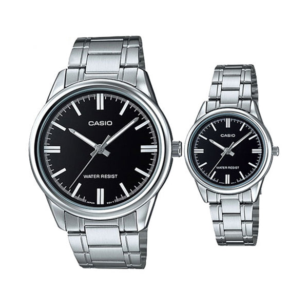 Casio His & Hers Black Dial Stainless Steel Band Couple Watch - MTP/LTP-V005D-1A