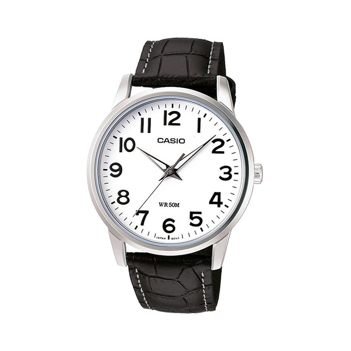 Casio Men's White Dial Leather Band Watch - MTP-1303L-7BVDF