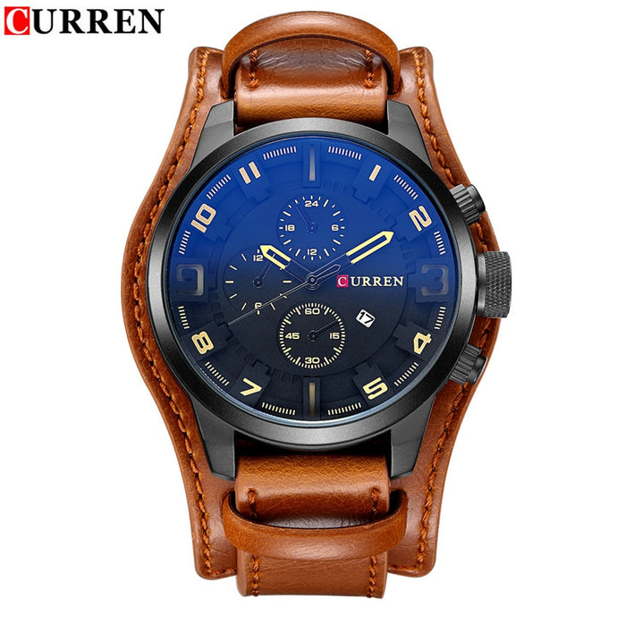 CURREN Luxury Brand Analog sports Men Watches Fashion Creative Quartz Leather Strap Wristwatch Date Male Clock Reloj Hombre