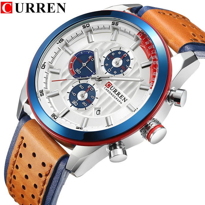 CURREN Brand Wristwatches Fashion New Arrival Calendar Casual Men Watches High Quality Leather Strap Chronograph Quartz watch