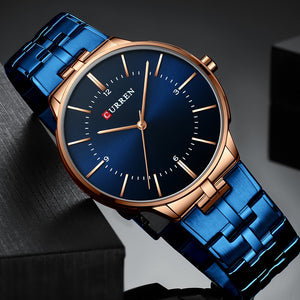 CURREN Relogio Men Watches Fashion Blue Man Watch 2019 Luxury Brand Waterproof Quartz Analog Wrist Watch Men Reloj Hombre