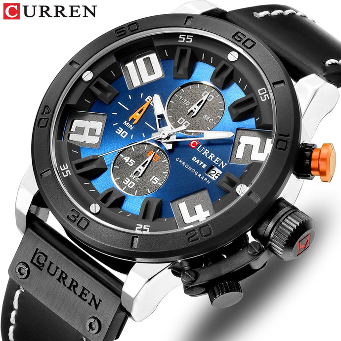 Luxury Mens Watches Fashion Chronograph Quartz Digital Wristwatch CURREN Leather Strap Watch With Waterproof 30M Reloj Hombre
