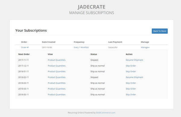 JadeCrate Manage My Subscription