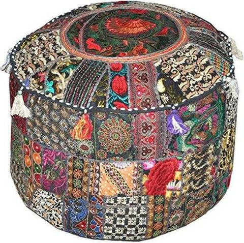 Traditional India Indian Patchwork Pouf Cover Indian Living Room Pouf, Decorative Ottoman,Embroidered Designer Ottoman, Home Living Footstool Chair Cover, Bohemian Ottoman Pouf Decor 14x22 Inch. | JadeCrate