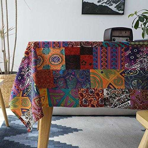 ColorBird Bohemian Style Tribal Ethnic Tablecloth Cotton Linen Dust-Proof Table Cover for Kitchen Dinning Tabletop Decor (Square, 55 x 55 Inch, Bohemian) | JadeCrate