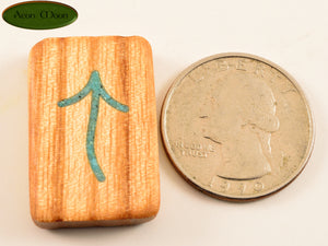 Witches Runes - Ash with Turquoise inlay (ASQW1) - Aeon Moon