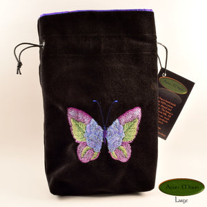 Blue Rose Butterfly - All Natural Cotton Velvet and Silk Tarot, Oracle, or Crystal bag - Aeon Moon